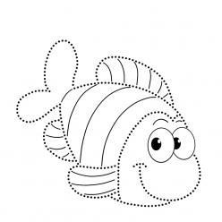 Раскраска развитие моторики Рыбка по точкам, чтобы распечатать в хорошем качестве