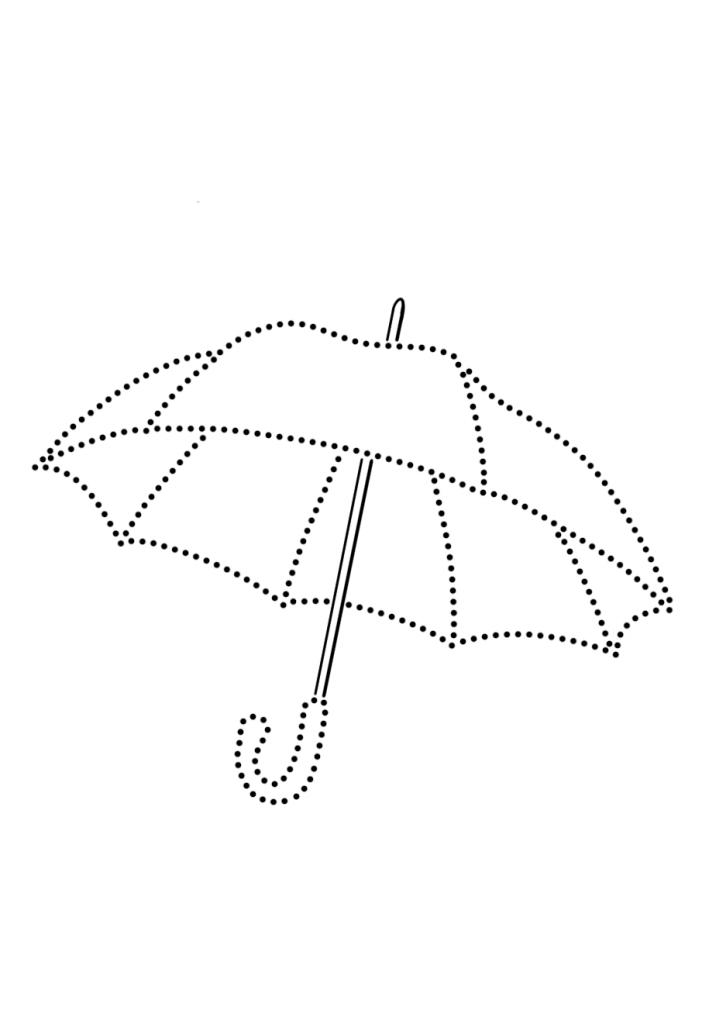 Раскраски зонтик по точкам, чтобы распечатать в хорошем качестве