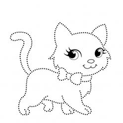 Раскраски Кошка по точкам, чтобы распечатать в хорошем качестве А4