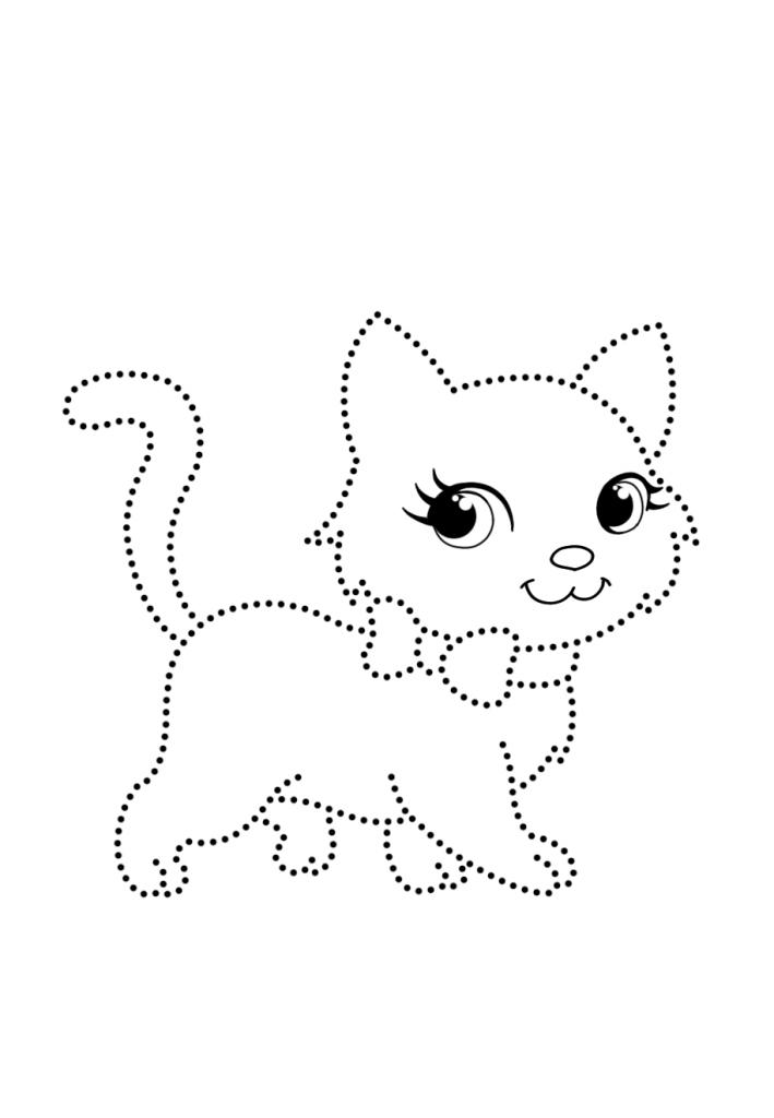 Кошка по точкам - Рисуем по точкам - Раскраски антистресс