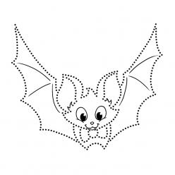 Раскраски Летучая мышь по точкам, чтобы распечатать в хорошем качестве А4