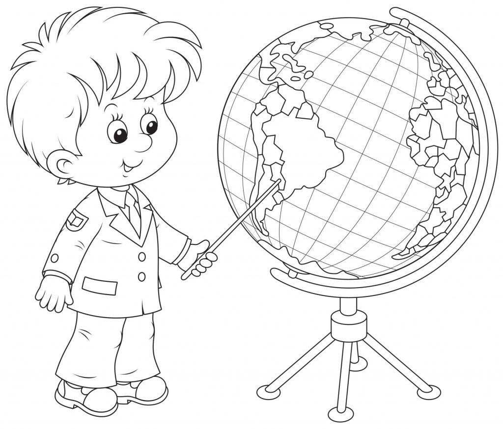 Раскраски «Школа» Первоклассник с глобусом, чтобы бесплатно распечатать А4