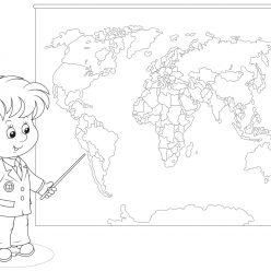 Раскраски «Школа» На уроке географии, чтобы бесплатно распечатать А4