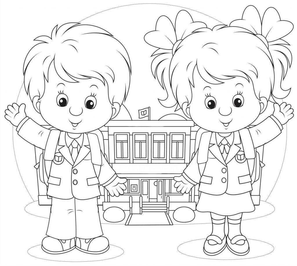 Раскраски «Школа» Ученик и ученица, чтобы бесплатно распечатать А4