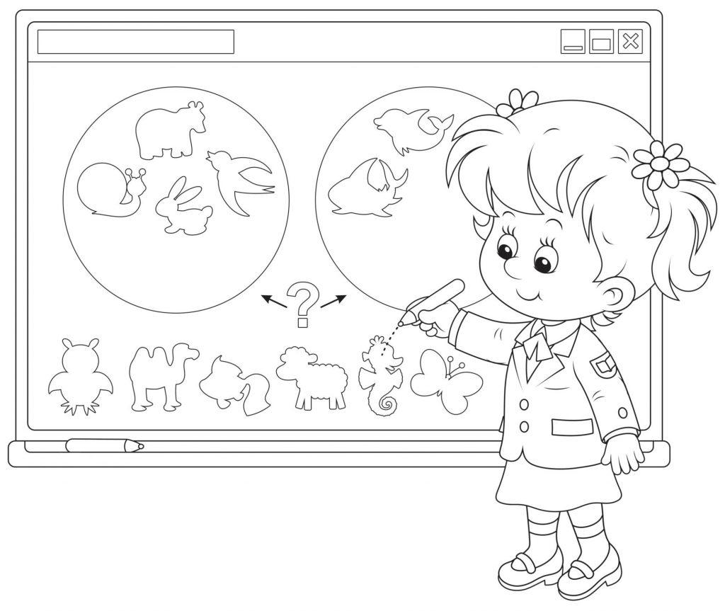 Раскраски «Школа» На уроке окружающий мир, чтобы бесплатно распечатать А4