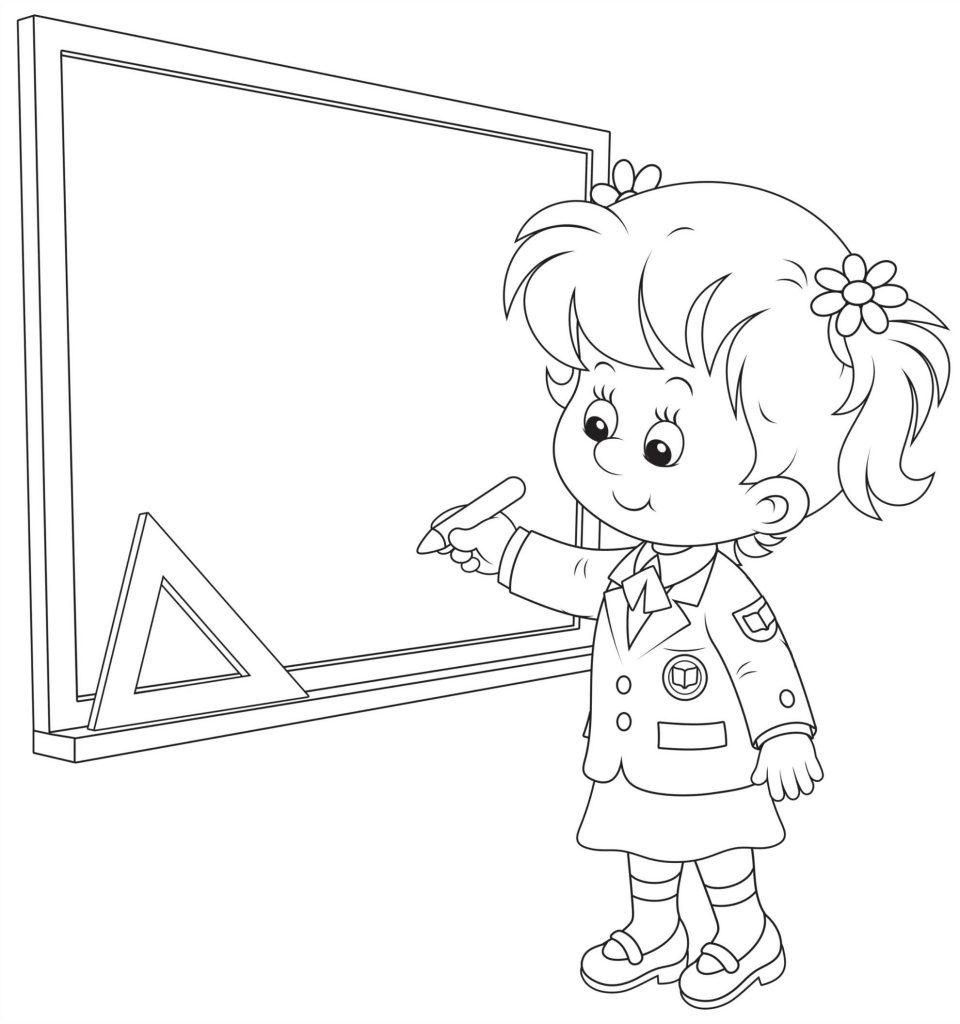 Раскраски «Школа» Ученица у доски, чтобы бесплатно распечатать А4