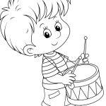Раскраски «Школа» Школьник играет на барабане, чтобы бесплатно распечатать А4