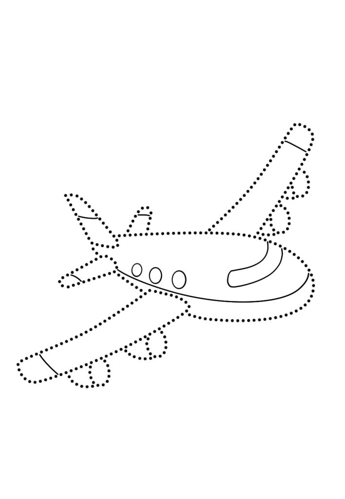 Раскраска развитие моторики Самолет «по точкам», чтобы распечатать в хорошем качестве