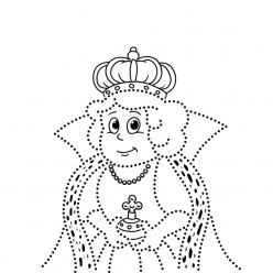 Раскраска развитие моторики королева по точкам, чтобы распечатать