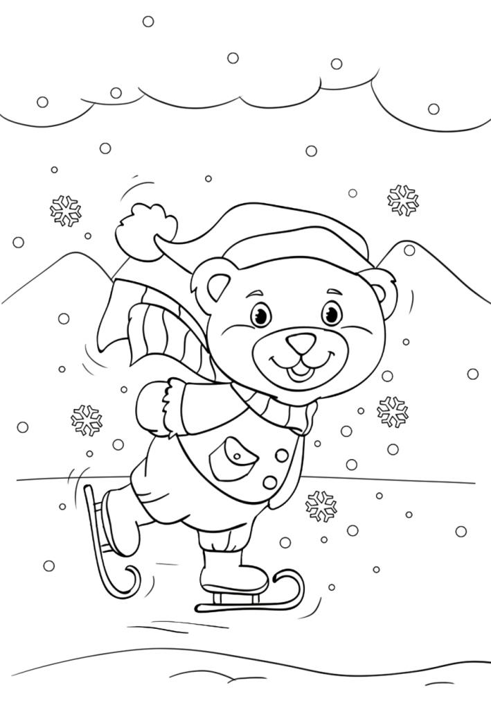 Раскраски «Новый год» Мишка на катке, чтобы бесплатно распечатать А4