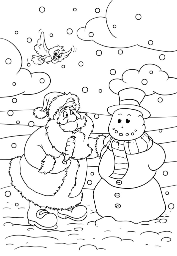 Раскраски «Новый год» Санта и снеговик, чтобы бесплатно распечатать А4