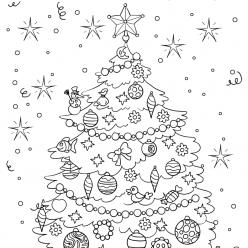 Раскраски «Новый год» Новогодняя елка, чтобы бесплатно распечатать А4