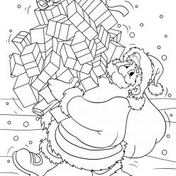 Раскраски «Новый год» Санта клаус, чтобы бесплатно распечатать А4