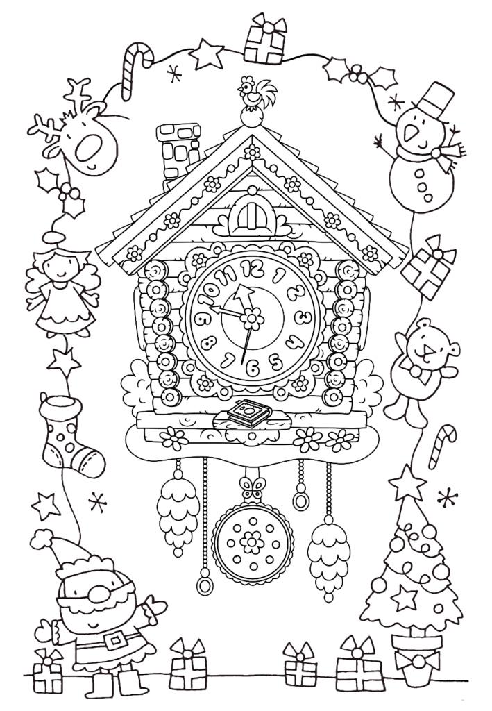 Раскраски «Новый год» Новогодние куранты, чтобы бесплатно распечатать А4