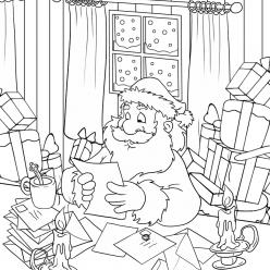 Раскраски «Новый год» Дед Мороз читает письма, чтобы бесплатно распечатать А4