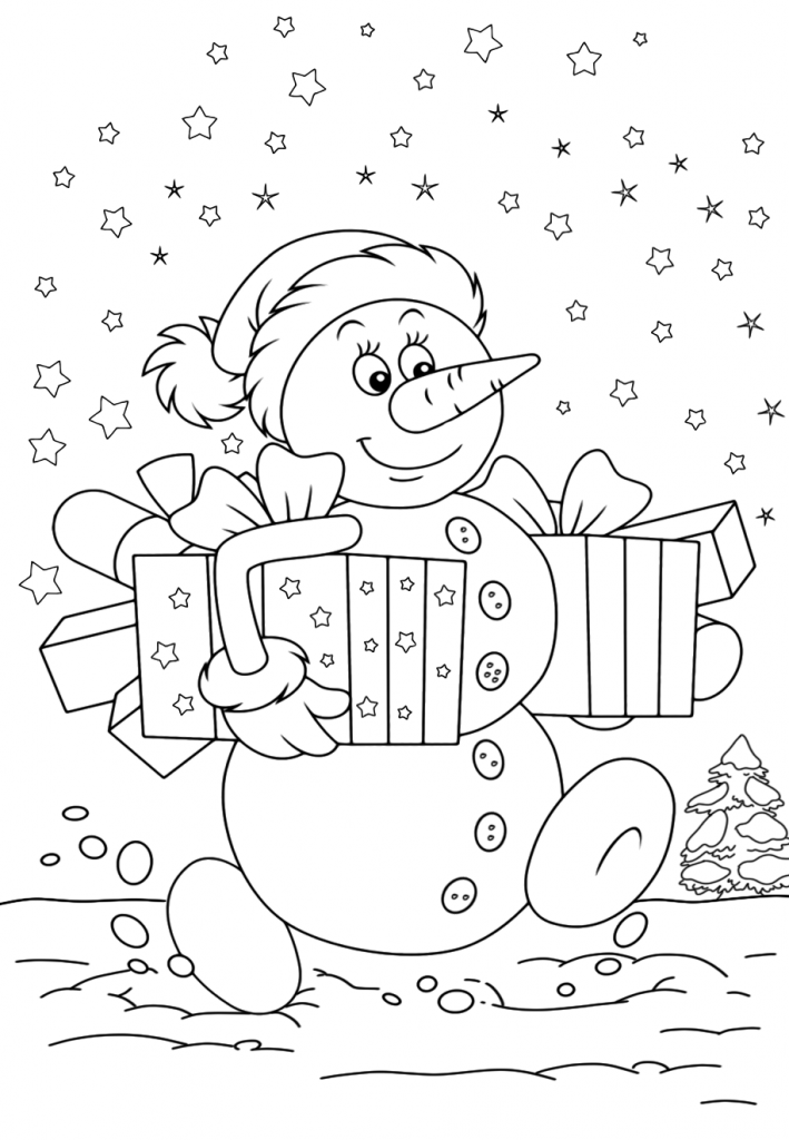 Раскраски «Новый год» Снеговик с подарками, чтобы бесплатно распечатать А4