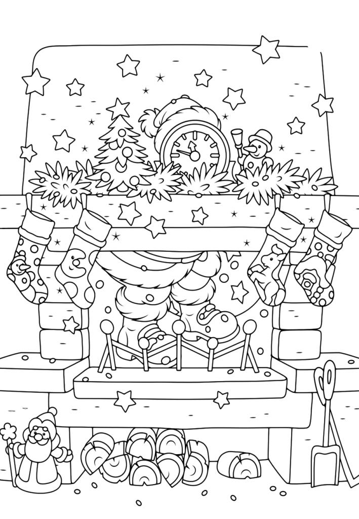Раскраски «Новый год» Камин, чтобы бесплатно распечатать А4