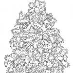 Раскраски «Новый год» Елка с игрушками, чтобы бесплатно распечатать А4