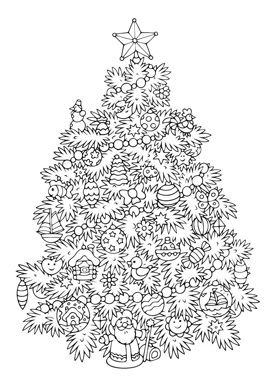 Елка с игрушками - Новый год - Раскраски антистресс