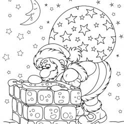 Раскраски «Новый год» Санта на крыше, чтобы бесплатно распечатать А4