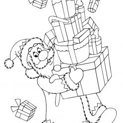 Раскраски «Новый год» Дед Мороз с подарками, чтобы бесплатно распечатать А4