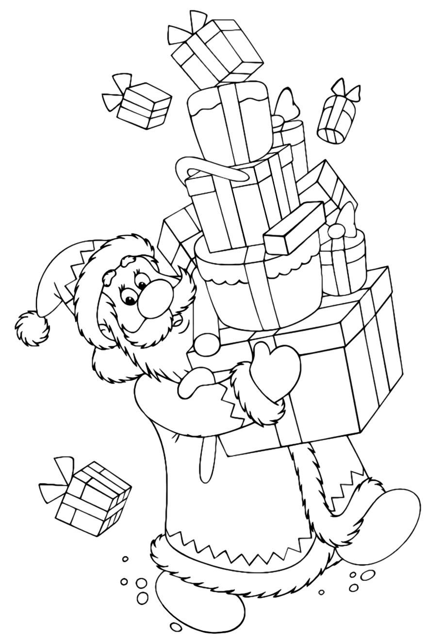 Дед Мороз с подарками - Новый год - Раскраски антистресс