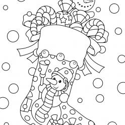 Раскраски «Новый год» Рождественский носок, чтобы бесплатно распечатать А4