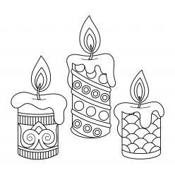 Раскраски «Новый год» три свечи, чтобы бесплатно распечатать А4