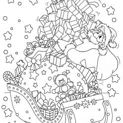 Раскраски «Новый год» Сани с подарками, чтобы бесплатно распечатать А4