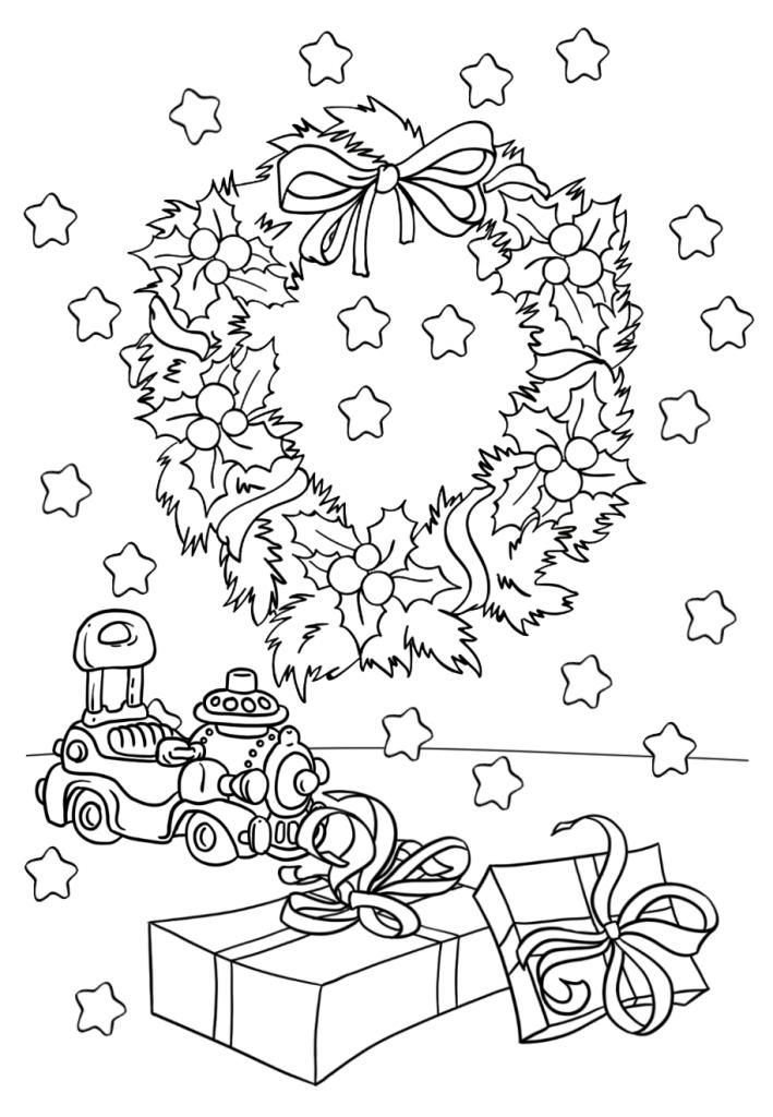 Раскраски «Новый год» Венок, чтобы бесплатно распечатать А4