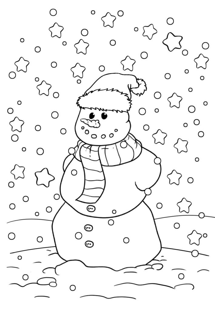 Раскраски «Новый год» Снеговик, чтобы бесплатно распечатать А4