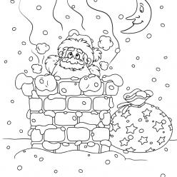 Раскраски «Новый год» Санта в трубе, чтобы бесплатно распечатать А4