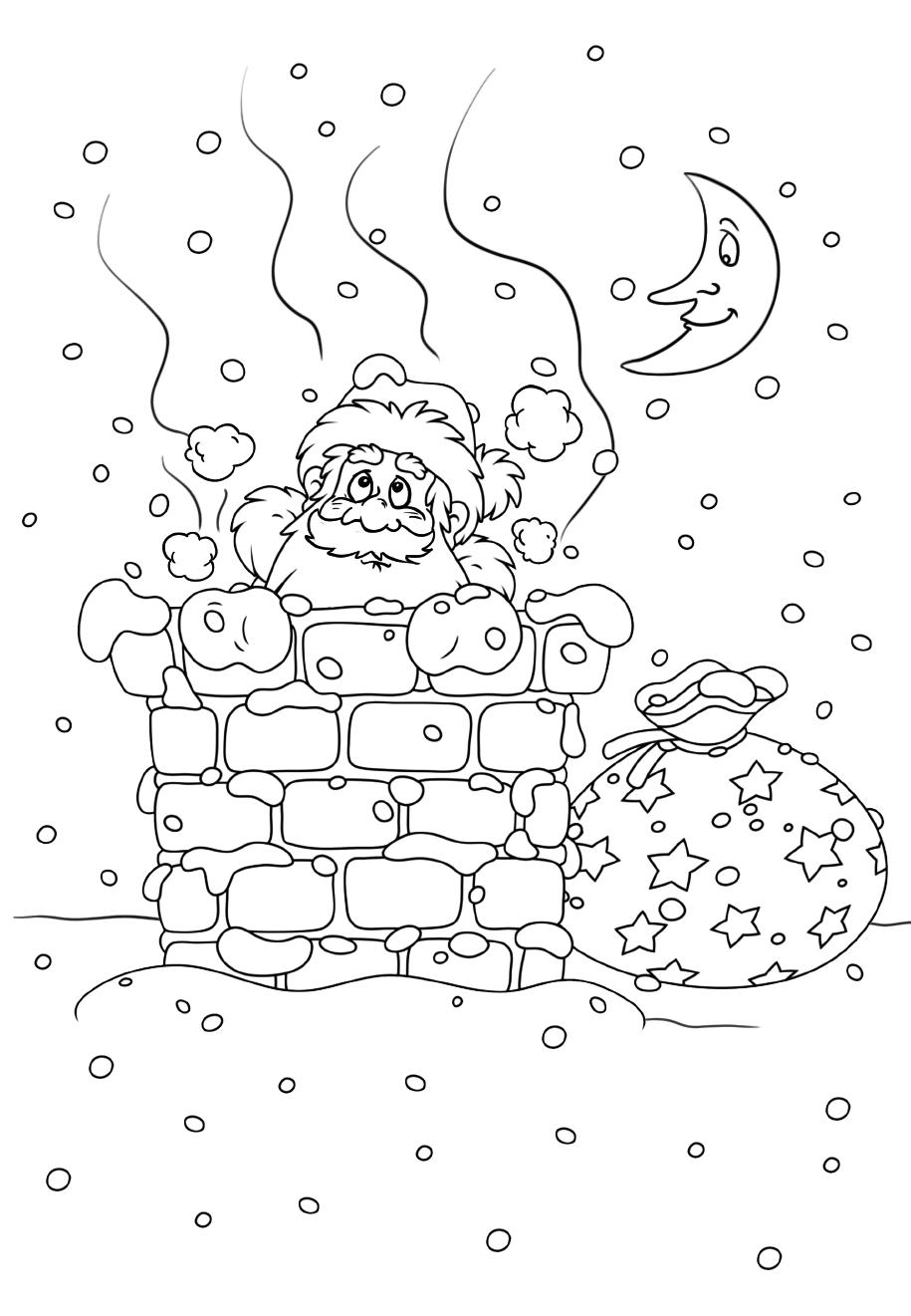 Санта в трубе - Новый год - Раскраски антистресс