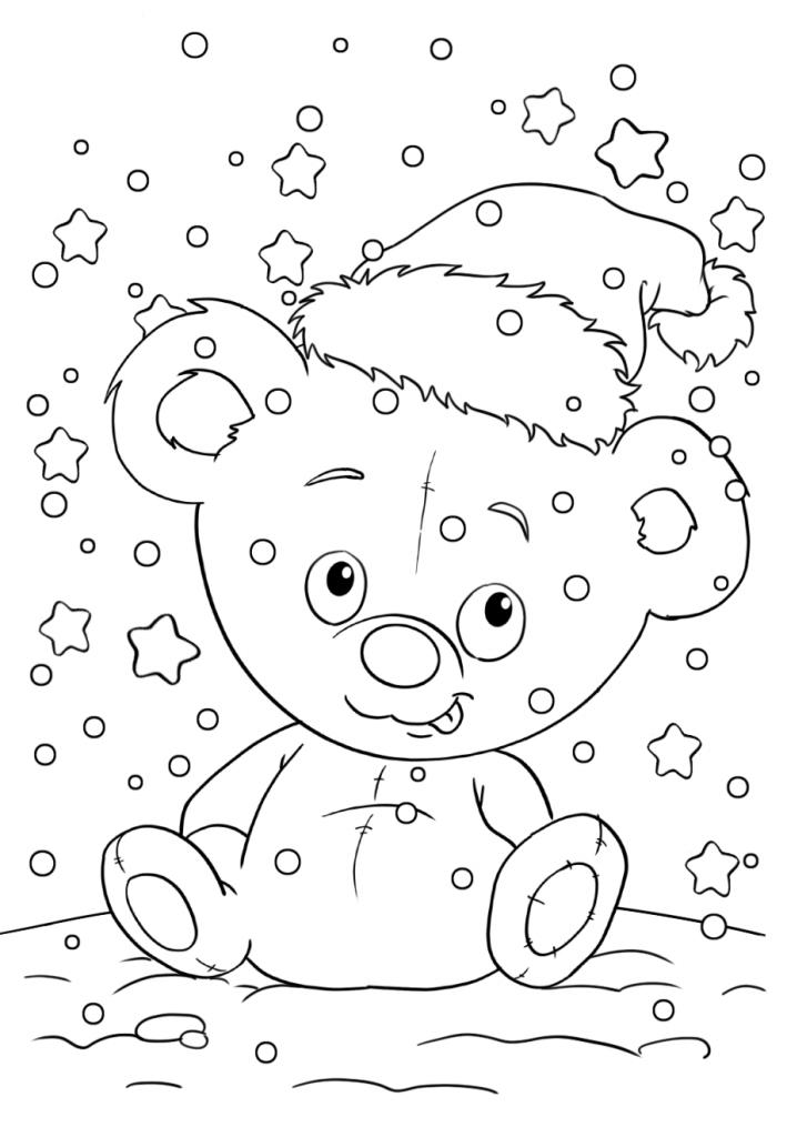 Раскраски «Новый год» Мишка Санта, чтобы бесплатно распечатать А4