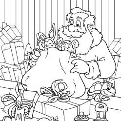 Раскраски «Новый год» Санта готовит подарки, чтобы бесплатно распечатать А4