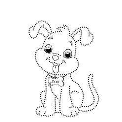 Картинка собака по точкам, чтобы распечатать в хорошем качестве А4