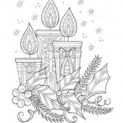 Картинка Новогодние свечи, чтобы распечатать в хорошем качестве А4