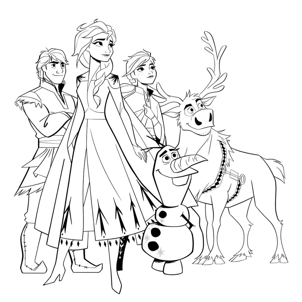 Раскраски «Холодное сердце 2» все герои, чтобы бесплатно распечатать А4