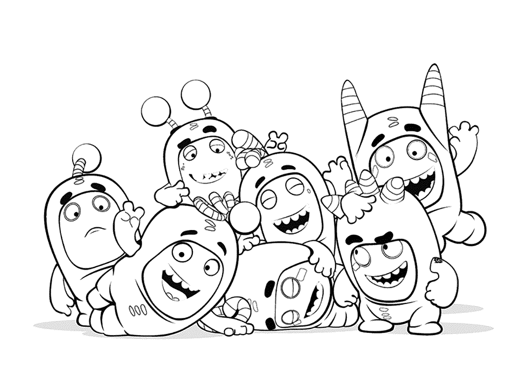 Раскраски «Oddbods» все герои, чтобы бесплатно распечатать А4