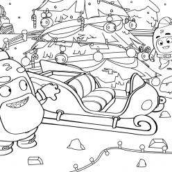 Раскраска сложная из мультфильма «Oddbods» новогодняя, чтобы бесплатно распечатать А4 для врослых детей или подростков