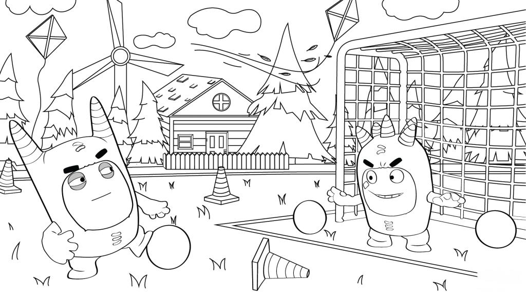Раскраска сложная из мультфильма «Oddbods» Телепузы, чтобы бесплатно распечатать А4 для врослых детей или подростков
