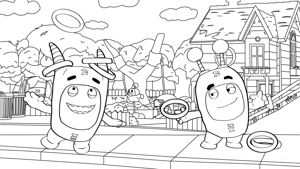 Раскраска сложная из мультфильма «Oddbods» Пушистики, чтобы бесплатно распечатать А4 для врослых детей или подростков