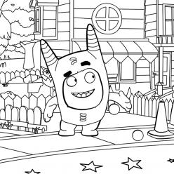 Раскраска сложная из мультфильма «Oddbods» Оддбодики, чтобы бесплатно распечатать А4 для врослых детей или подростков