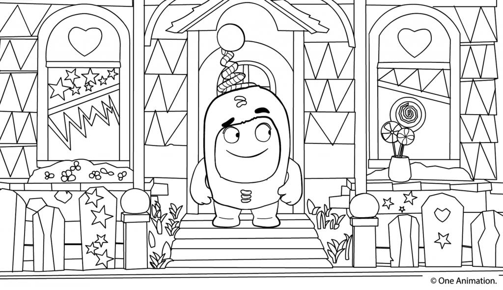 Раскраска сложная из мультфильма «Oddbods» Чудики, чтобы бесплатно распечатать А4 для врослых детей или подростков