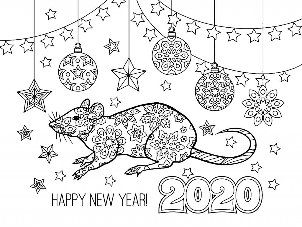 Раскраски «Новый год» Год Крысы, чтобы бесплатно распечатать А4