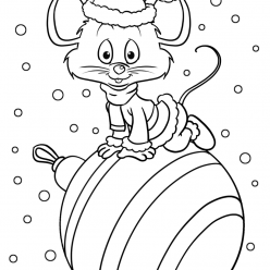 Раскраски «Новый год» Символ года Мышка, чтобы бесплатно распечатать А4