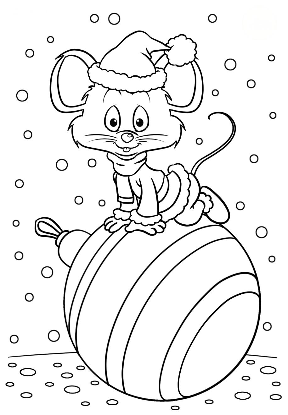 Символ года Мышка - Новый год - Раскраски антистресс
