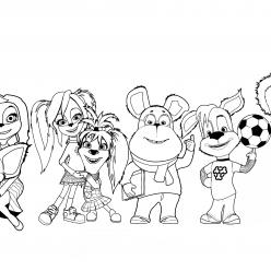 Раскраска для детей из мультфильма «Барбоскины» вся семья, чтобы распечатать бесплатно в хорошем качестве А4
