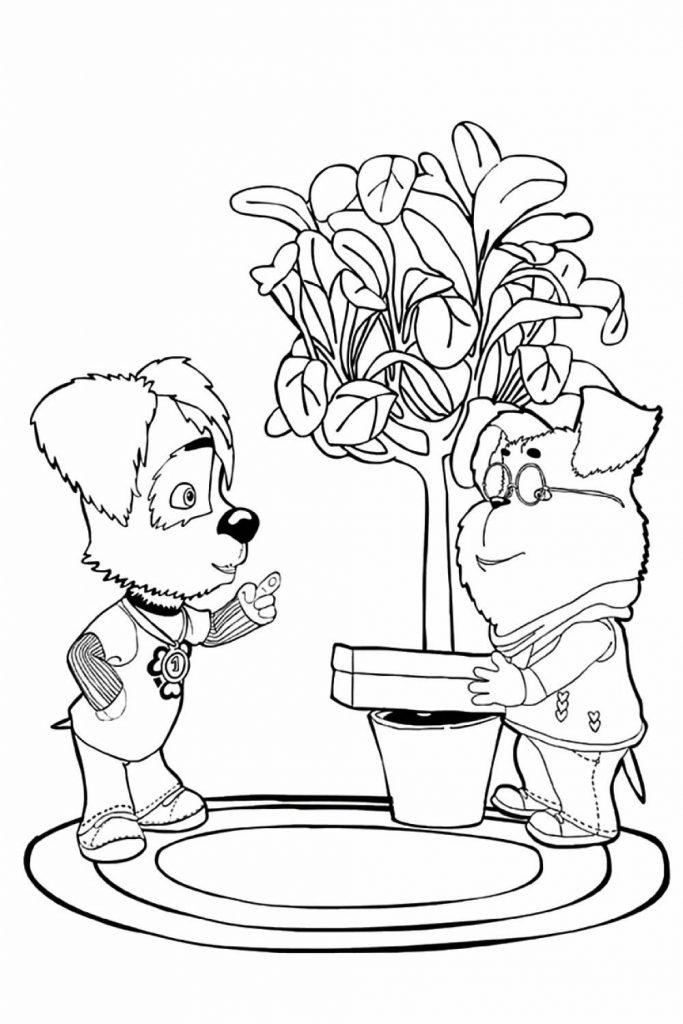 Раскраска для детей из мультфильма «Барбоскины» Дружок и Гена, чтобы распечатать в хорошем качестве А4