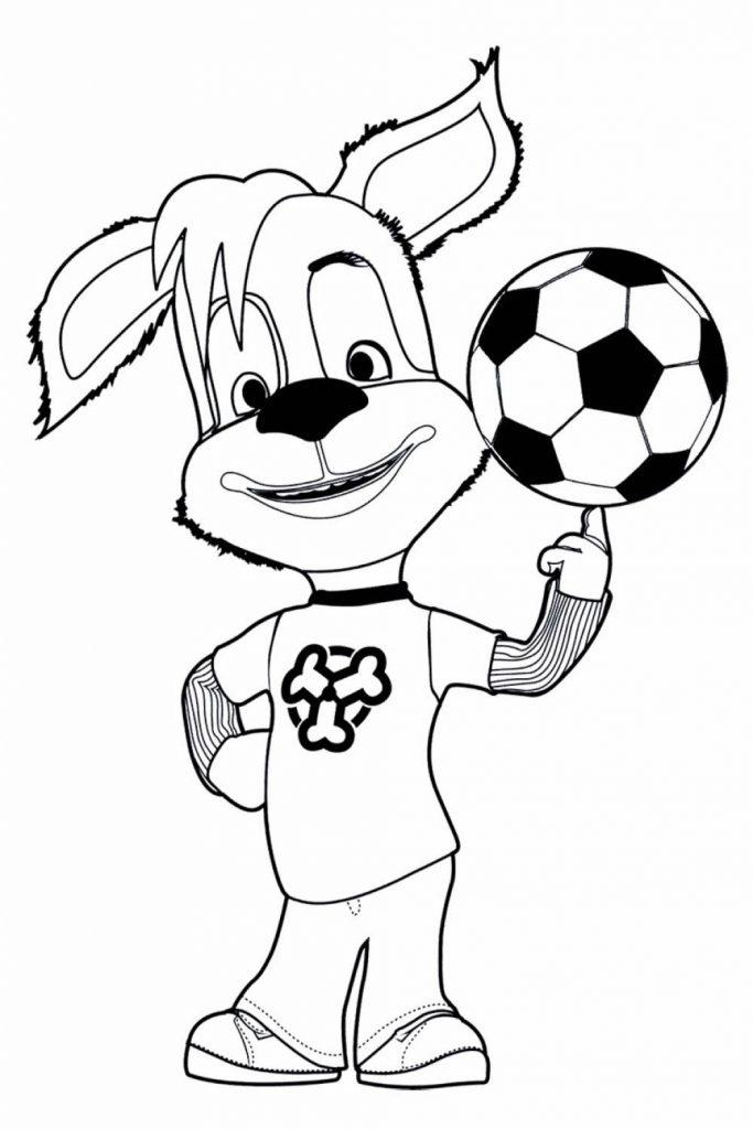 Раскраска для детей из мультфильма «Барбоскины» Дружок футболист, чтобы распечатать в хорошем качестве А4
